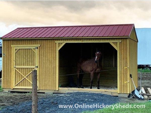 Hickory Sheds Animal Shelter with Horse