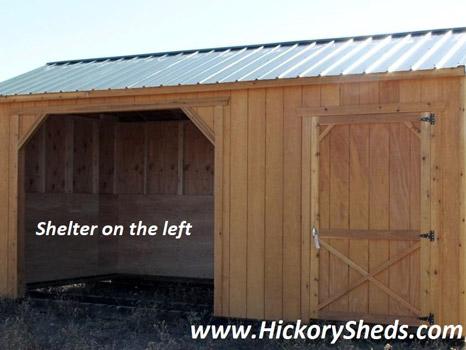 Hickory Sheds Animal Shelter with Shelter Left