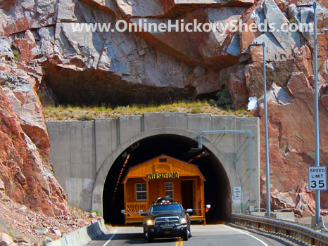 A Hickory Shed being towed through a tunnel