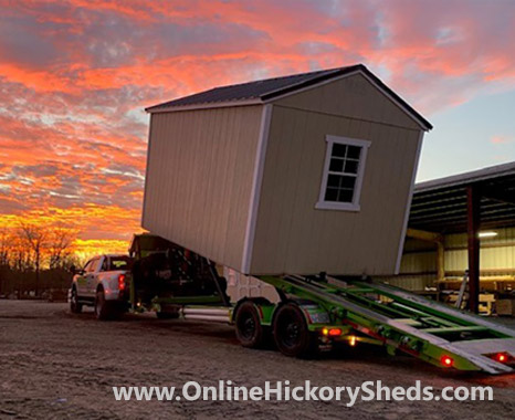 Hickory Shed being installed at sunset
