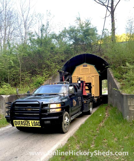 Hickory Shed being towed through a tunnel