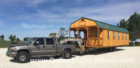 Hickory Shed being delivered to a happy owner