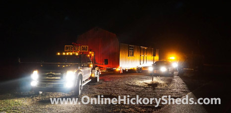 Hickory Shed being delivered at night