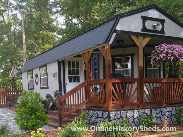 Hickory Sheds Lofted Deluxe Porch with Stone Foundation