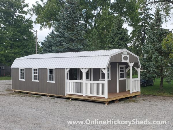 Hickory Sheds Lofted Deluxe Porch with 3 Windows on the Side