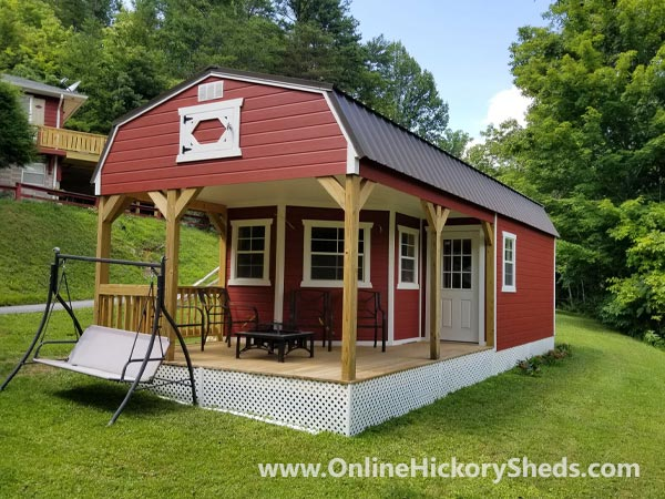 Hickory Sheds Lofted Deluxe Porch Painted Pinnacle Red