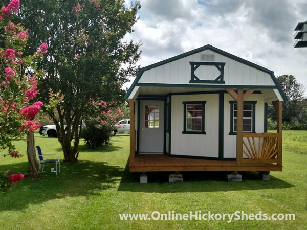 Hickory Sheds Lofted Deluxe Porch Painted Barn White with Green Trim