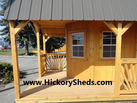 Hickory Sheds Lofted Deluxe Porch Closeup