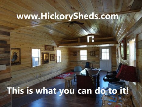 Hickory Sheds Lofted Deluxe Porch Finished Inside
