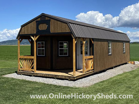 Hickory Sheds Lofted Deluxe Porch Painted Brown