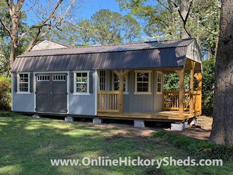 Hickory Sheds Lofted Deluxe Porch with Double Barn Doors on Side