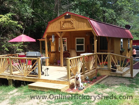 Hickory Sheds Lofted Deluxe Porch with Custom Deck