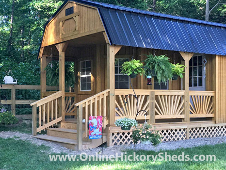 Hickory Sheds Lofted Deluxe Porch Raised