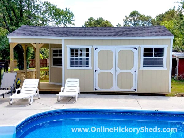 Hickory Sheds Utility Deluxe Porch with Double Barn Doors on Side