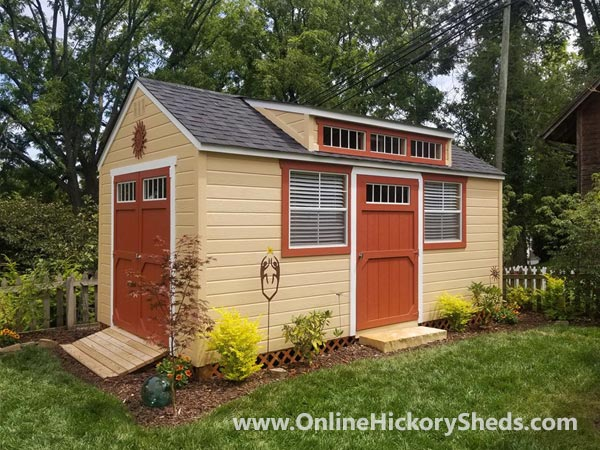 Hickory Sheds Dormer Utility with Single Barn Door and 2 Windows