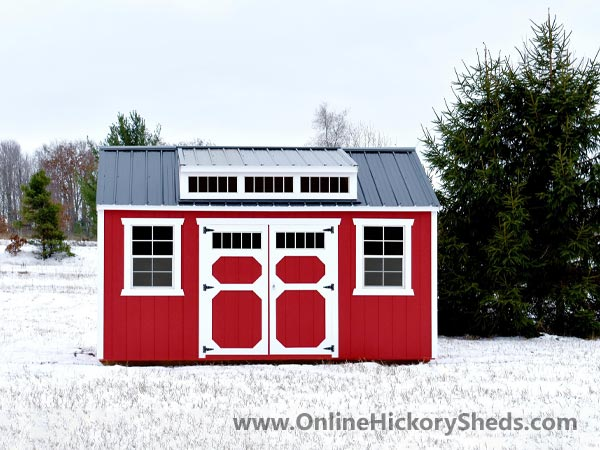 Hickory Sheds Dormer Utility Shed Painted Scarlet Red with White Trim