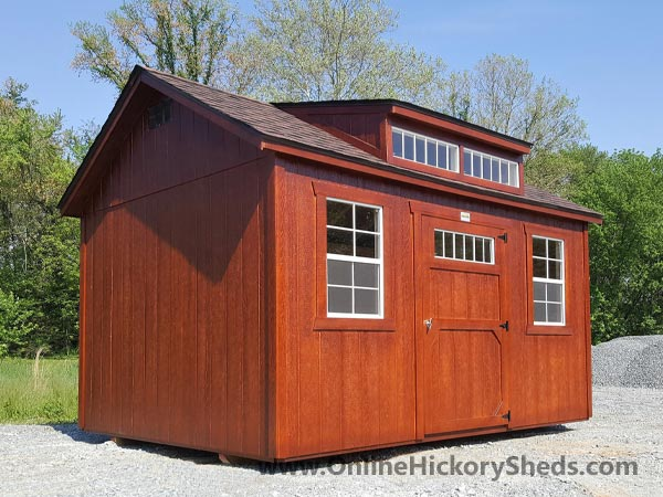 Hickory Sheds Dormer Utility Shed Stained Mahogany