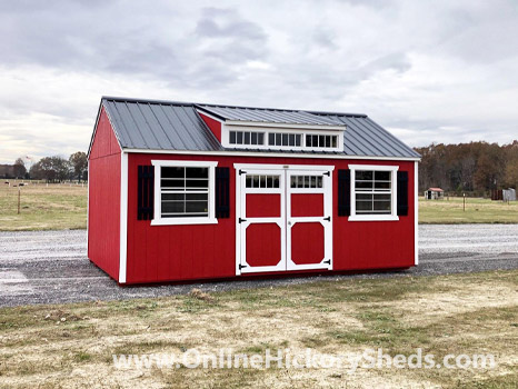 Hickory Sheds Dormer Utility Shed Painted Scarlet Red with Black Shutters