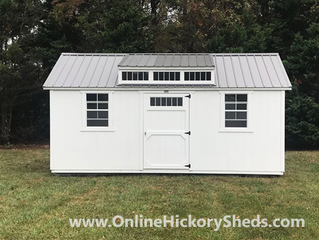 Hickory Sheds Dormer Utility Shed Painted Barn White