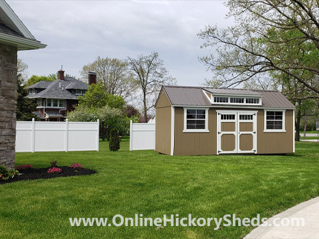 Hickory Sheds Dormer Utility Shed with Double 5 Lite Barn Doors