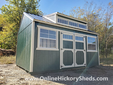 Hickory Sheds Dormer Utility Shed Painted Evergreen