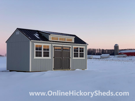 Hickory Sheds Dormer Utility Shed Painted Gap Gray