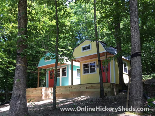 Hickory Sheds Lofted Front Porch Painted in Playful Colors
