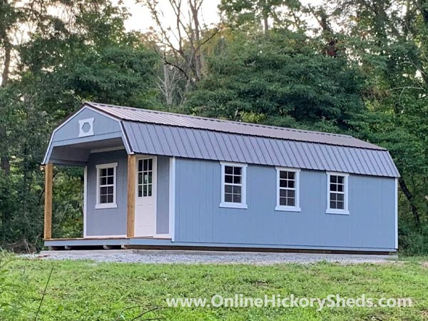 Hickory Sheds Lofted Front Porch with 3 Windows on the Side
