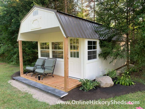Hickory Sheds Lofted Front Porch Painted barn White