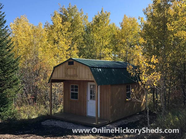 Hickory Sheds Lofted Front Porch Stained Honey Gold