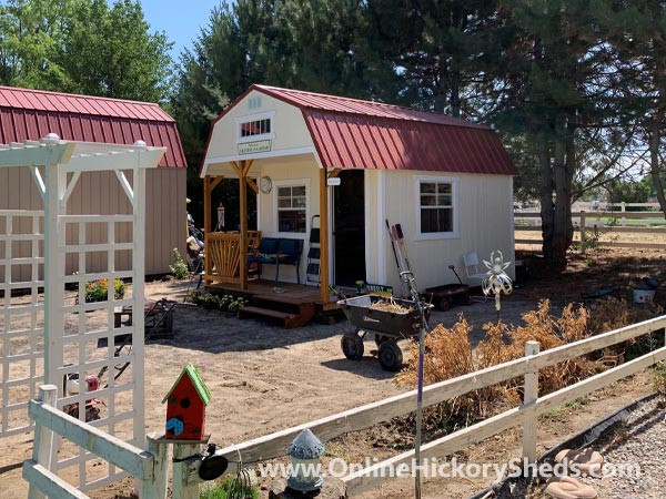 Hickory Sheds Lofted Front Porch Painted Barn White with Rustic Red Roof