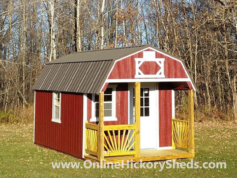 Hickory Sheds Lofted Front Porch with Custom Wood Porch
