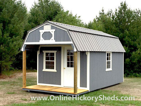 Hickory Sheds Lofted Front Porch Painted Gap Gray with White Trim