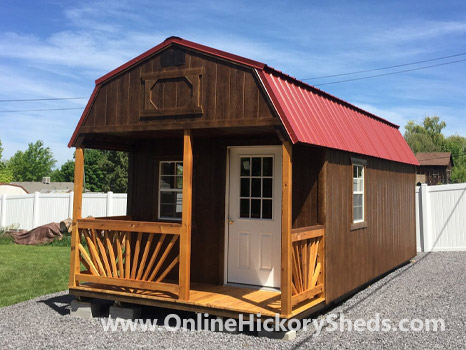 Hickory Sheds Lofted Front Porch Painted Brown with Rustic Red Metal Roof