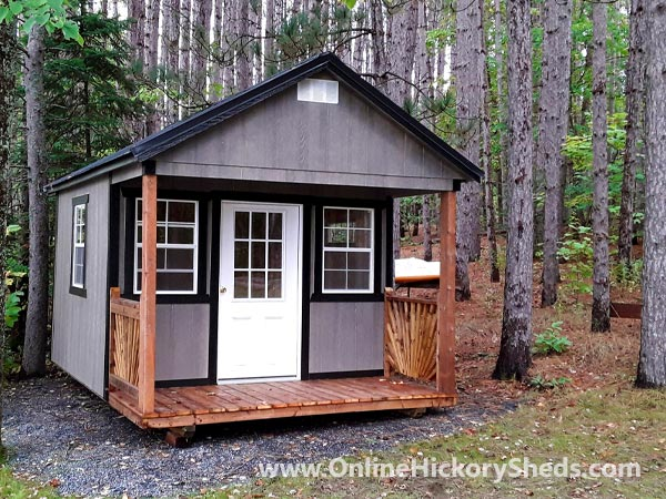 Hickory Sheds Utility Front Porch Painted Gray Shadow with Black Trim
