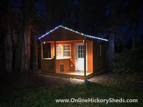 Hickory Sheds Utility Front Porch Lit Up at Night