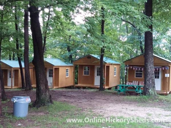 Hickory Sheds Utility Front Porch Camp Setup