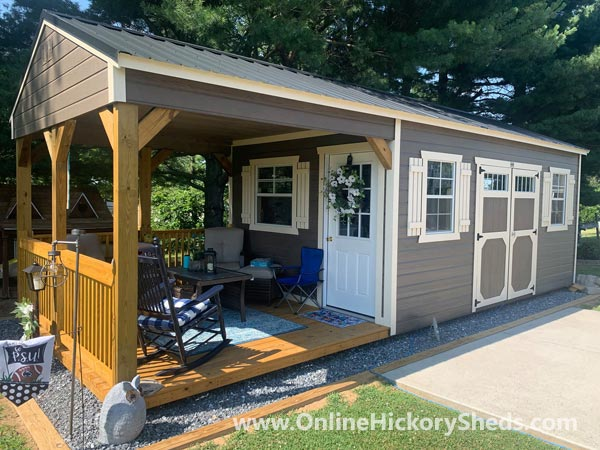 Hickory Sheds Utility Front Porch with Side Double Barn Doors
