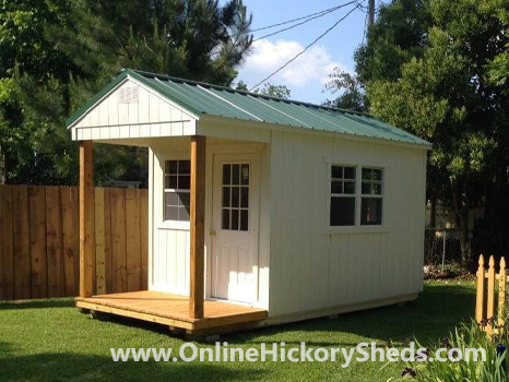 Hickory Sheds Utility Front Porch Painted Barn White