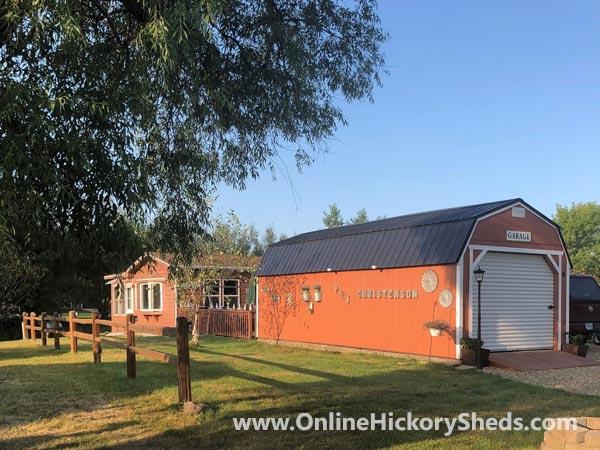 Hickory Sheds Lofted Barn Garage Mahogany