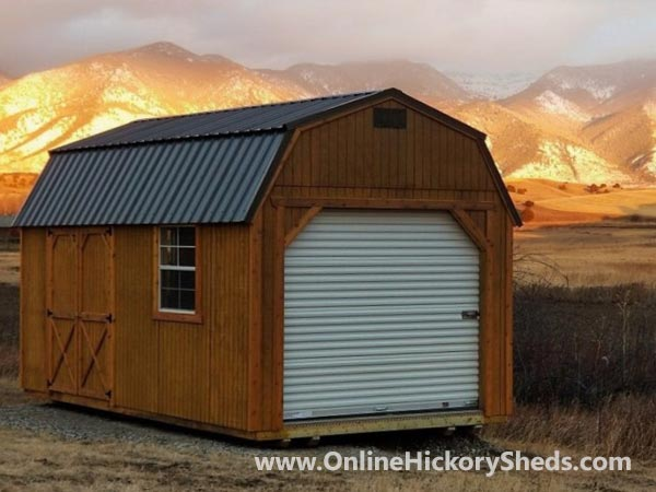 Hickory Sheds Lofted Barn Garage Stained Honey Gold
