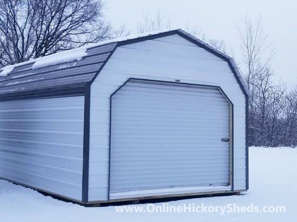 Hickory Sheds Lofted Barn Garage Brilliant White Metal