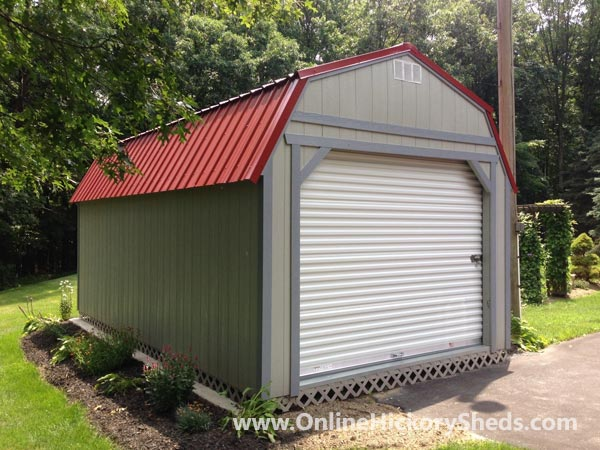 Hickory Sheds Lofted Barn Garage Gap GrayRustic Red Metal Roof