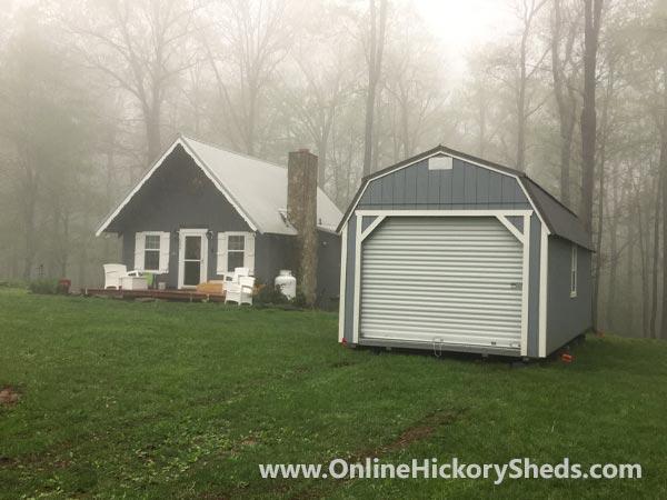 Hickory Sheds Lofted Barn Garage Gray Shadow White Trim