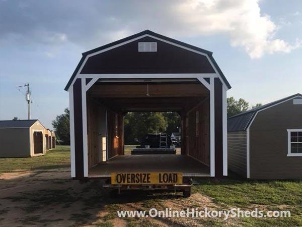 Hickory Sheds Lofted Barn Garage Double Garage Doors Open