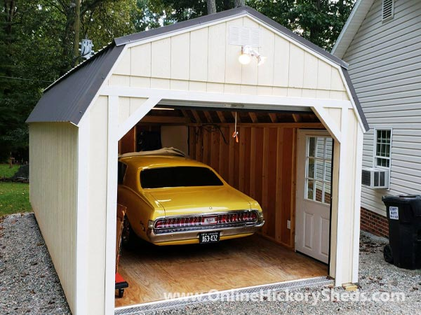 Hickory Sheds Lofted Barn Garage Muscle Car Inside