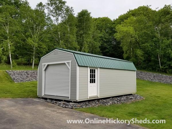 Hickory Sheds Lofted Barn Garage Hunter Green Metal Roof