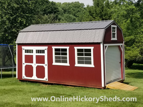 Hickory Sheds Lofted Barn Garage Painted Scarlet Red White Trim