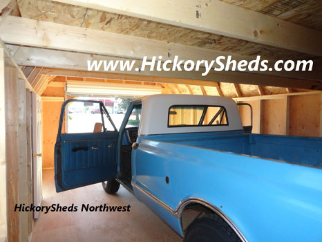Hickory Sheds Lofted Barn Garage Inside with Truck