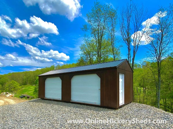 Hickory Sheds Utility Garage Painted Double Roll Up Doors